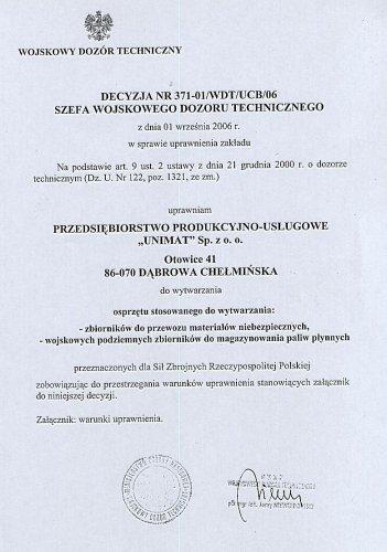 Certyfikat Wojskowego Dozoru Technicznego